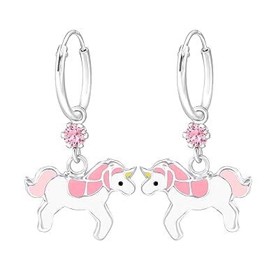 unicornio plata de ley 925 pendientes para ni/ños rosa Pendientes para ni/ña Laimons joyas para ni/ños