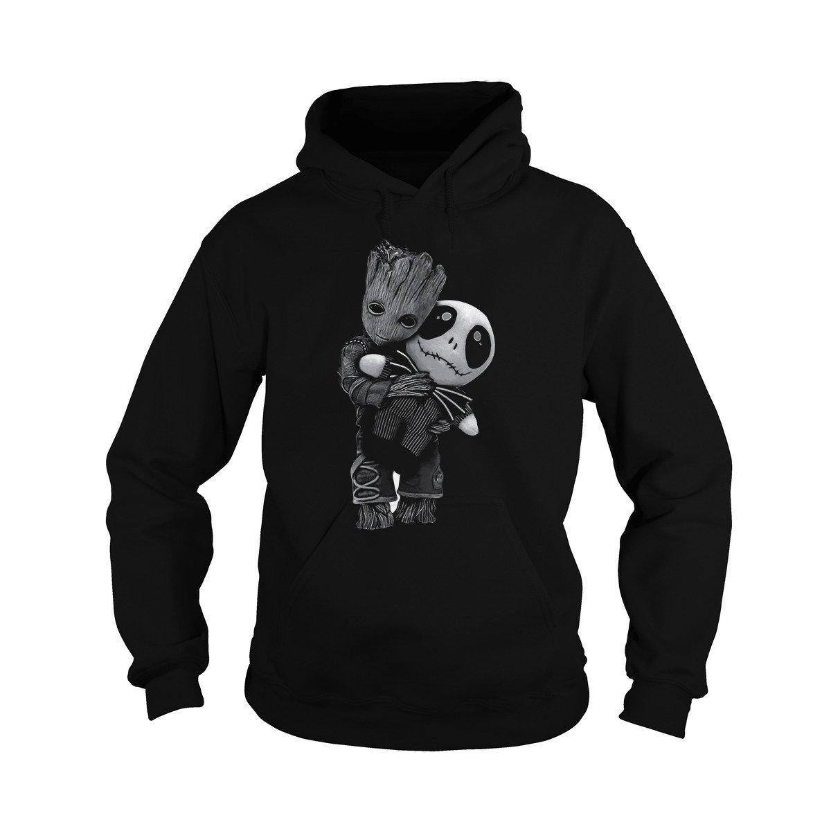 Unisex Baby Groot Hugs Jack Skellington Hoodie (L, Black)