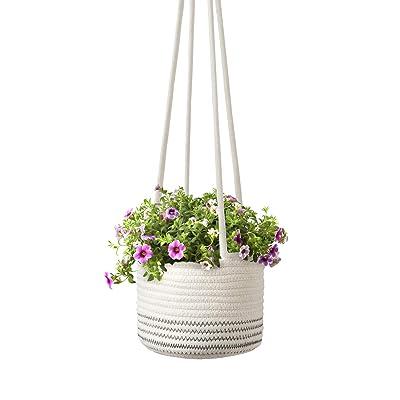 "Mkono Cotton Rope Hanging Planter Woven Plant Basket Indoor Up to 7"" Pot Macrame Plant Hangers Modern Storage Organizer Home Decor: Garden & Outdoor"