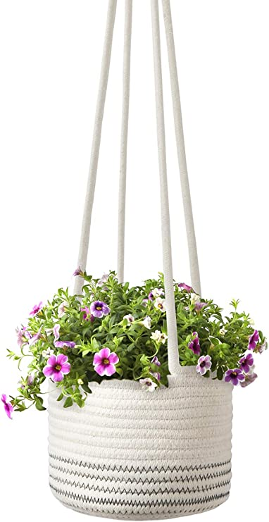 Ertisa 3 Pack Macrame Plant Hanger Indoor Outdoor Flower Pot Basket Plant Hanging Rope Bohemia Hanging Plant Holder for Patio Deck Ceiling Home Decor