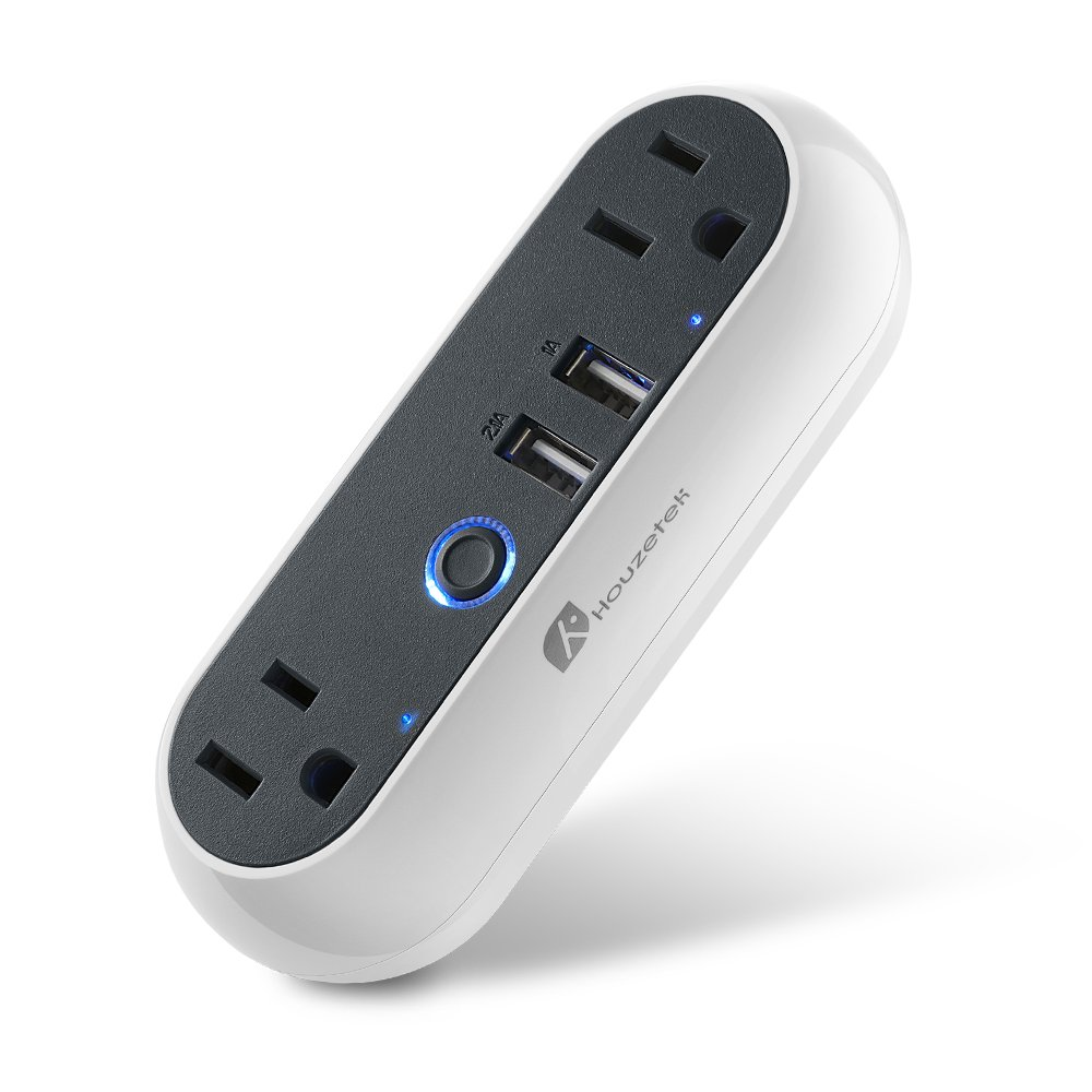 Wifi Smart Plug Mini Dual Outlets 2 USB Ports, Houzetek Smart Socket with Energy Monitoring & Timing Function, Works with Amazon Alexa/Google Home/IFTTT, Individual/Group Control