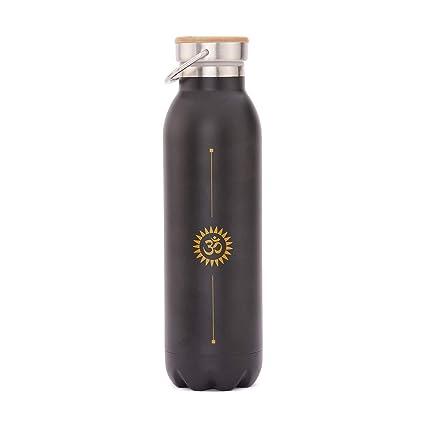 Bodhi Elegante Botella Termo de Acero Inoxidable Resistente a Arañazos a Prueba de Fugas 600 ml con diseño de Yoga Estampado Hot Yoga y Yoga ...