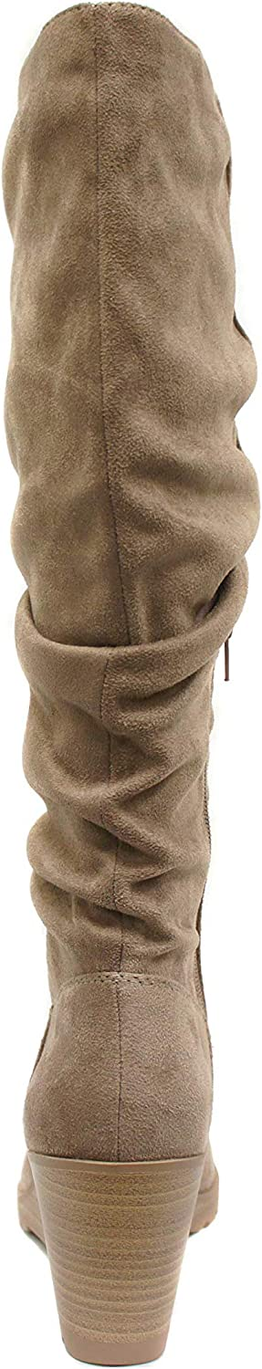Details about  /Women Lace Up Knee Boots Wedge Heel Fluffy Fur Faux Suede Round Toe Shoes 000