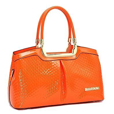 3e2bb9478fe3 Amazon | 【G-AVERIL】新型女子バッグワニ柄エナメル革ハンドバッグ欧米斜めかけショルダートートバッグ | ハンドバッグ