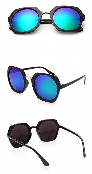 sonnenbrille Männer und frauen runden rahmen farbe Spiegel Retro mode brille sonnenbrille schwarzer rahmen graues Objektiv SbpQa0t