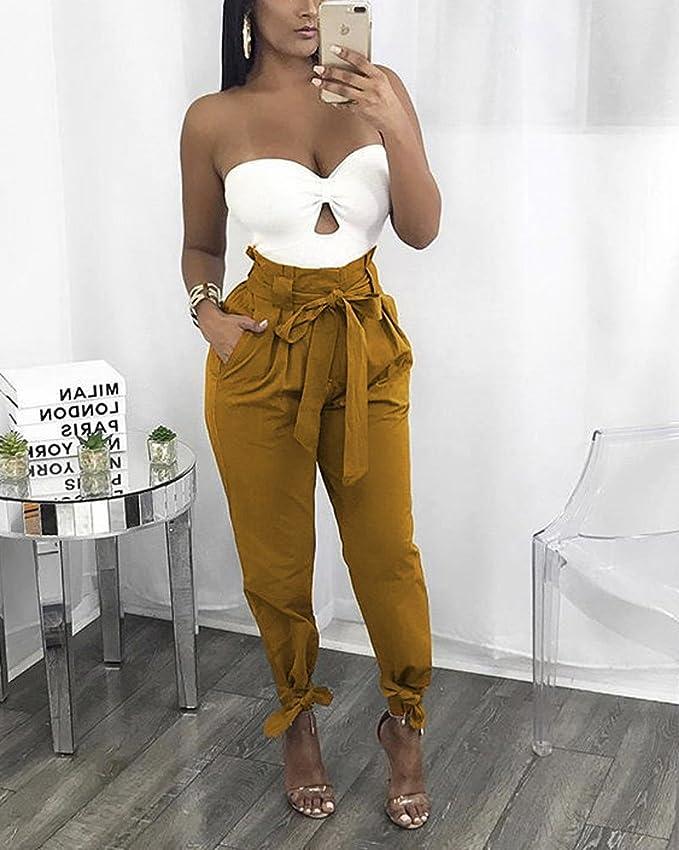 Tomwell Mujer Casual Elegante Cintura Alta Color Sólido Pantalón Largos  Pantalones Anchos Pierna Pantalones con Pretina  Amazon.es  Ropa y  accesorios 55d01f3da2ae