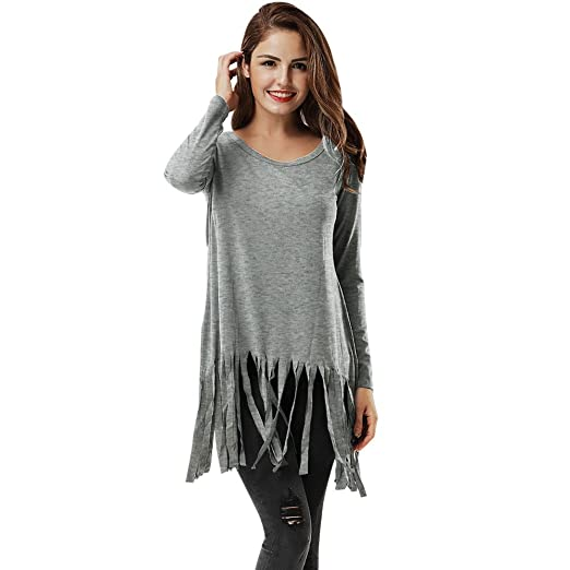 Tops Womens, Topunder Long Sleeve Tassel O Neck Shirt Casual Blouse Loose Cotton T-