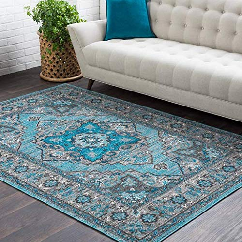 - Hennepin Vintage Distressed Blue 2' x 3' Rectangle Updated Traditional 100% Polypropylene Teal/Medium Gray/Charcoal/Black/White Area Rug