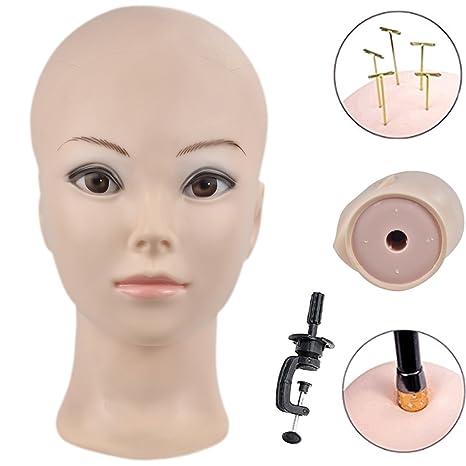ERSIMAN Maquillaje Cabeza de entrenamiento calva Cosmetología Maniquí Cabeza de maniquí para pelucas Fabricación y exhibición