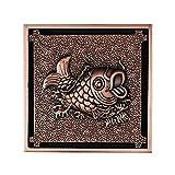 Yunjie Floor Drain, Brass Vintage Retro Carved Flower Pattern Bathroom Shower Drain Square Floor Drain 100100mm