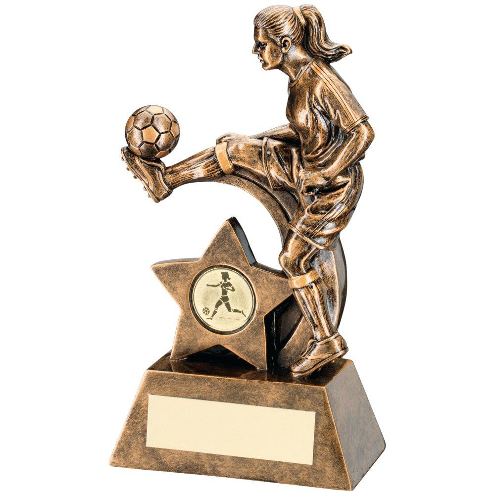Women's Football Bronze / Gold colour Resin Female Football Figure Trophy