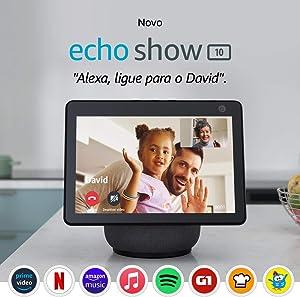 """Novo Echo Show 10: Smart Display HD de 10,1"""" com movimento e Alexa - cor Preta"""