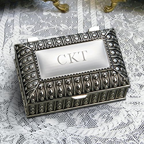 (Center Gifts Silver Plated Rectangular Jewelry Box with Beaded Antique Design, Engrave it with Name or Message |Trinket to Store Earing, Ring, Necklace)