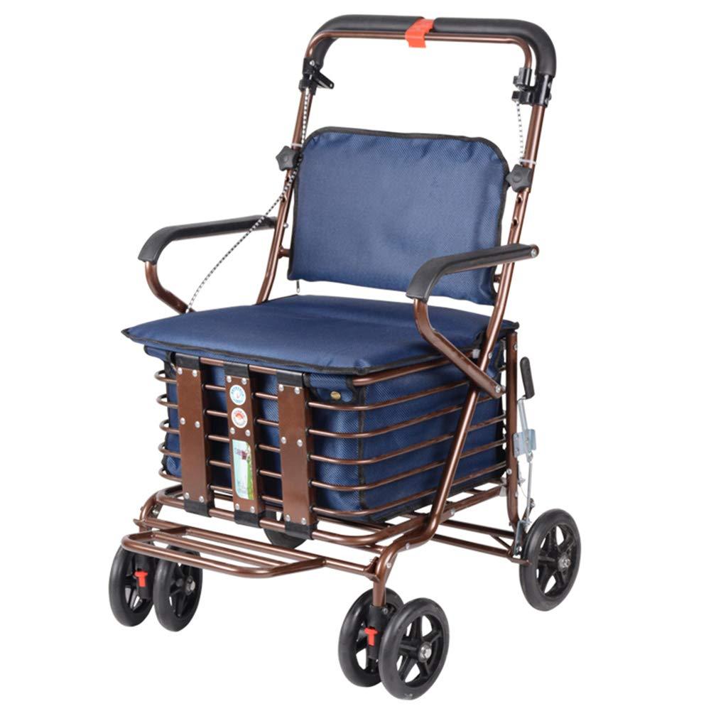 大容量軽量ショッピングトロリー四輪フォールディングショッピングカート、ブレーキ付き、シートとショッピングバス付きウォーキング,C B07JW7WBR4 C