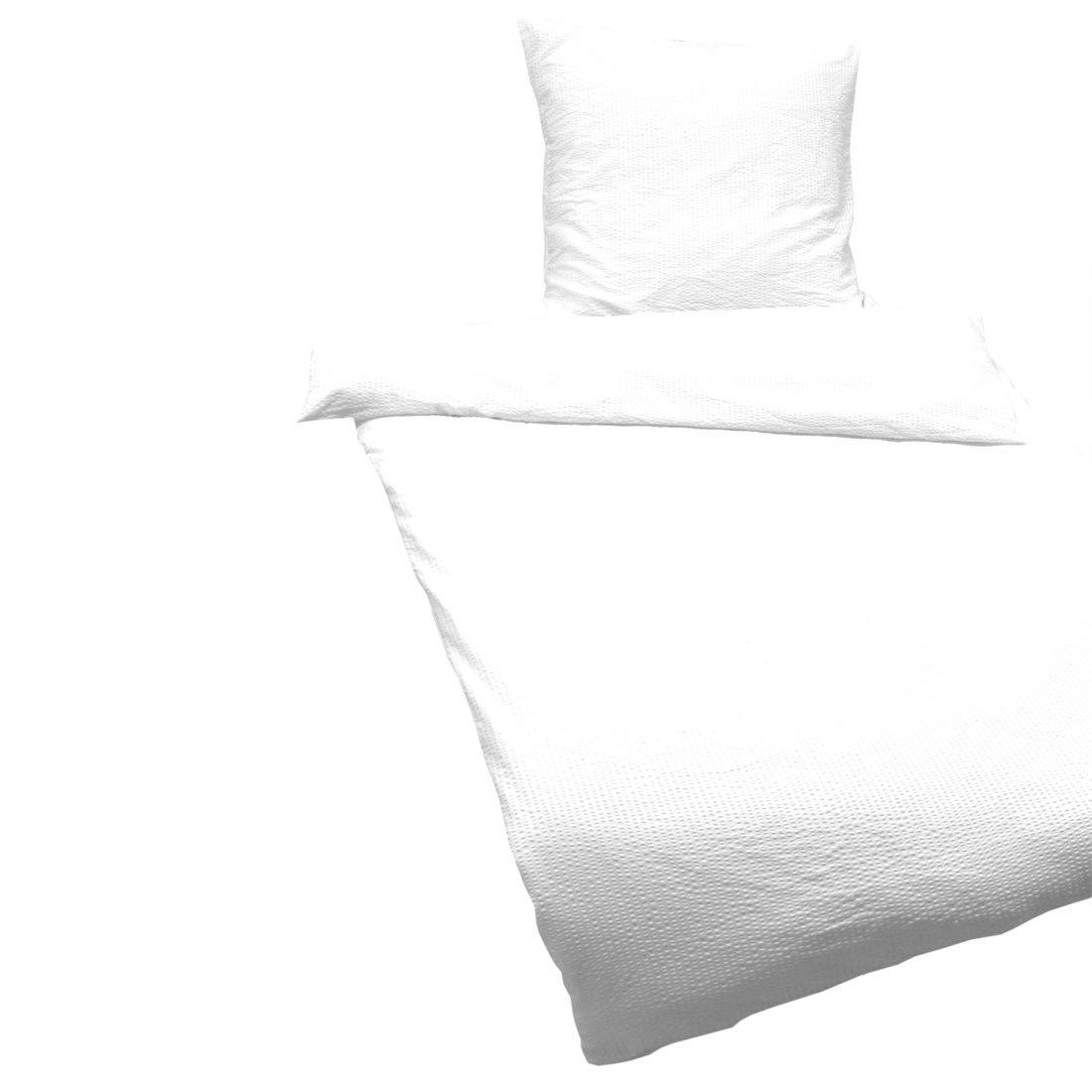 Fashionpillow -1111081003- Seersucker Bettwäsche Set Fuchsia, 135x200cm, Unifarbener Bettbezug -Decke und Kissen- mit Reißverschluss, Mikrofaser