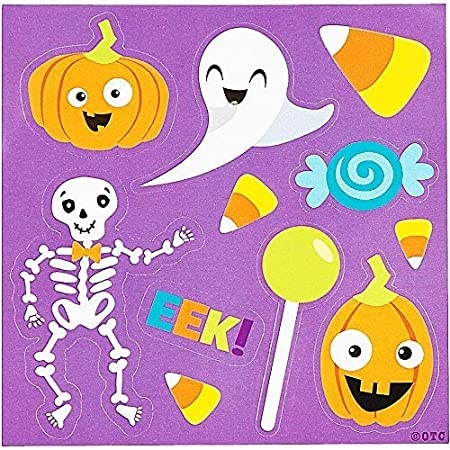 Halloween Themed Sticker Sheets Party Favor - 50 pack - featuring Ghost, Jack O Lantern Pumpkin, Skeleton, Candy Corn and more