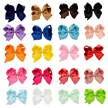 Baby Girls Rainbow Bows Hair Clips Large Rib Grosgrain Ribbon Bow Hairpin-AW