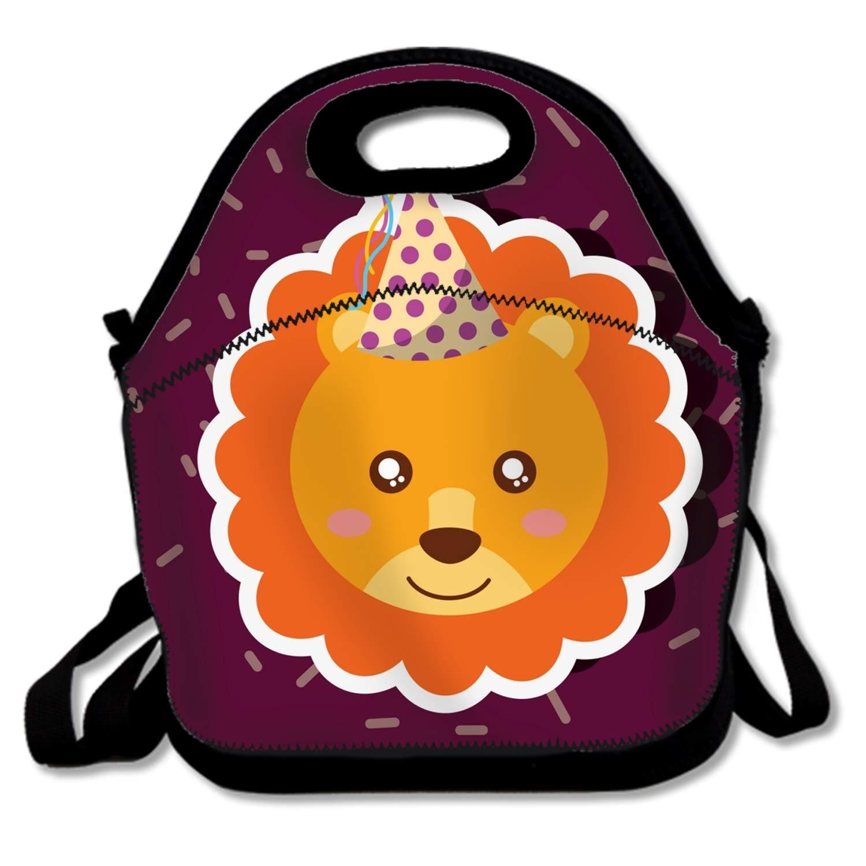 Lunch Box Cute Animal Happy Birthday Lunch Bag with Zip, Medium for Children Kids