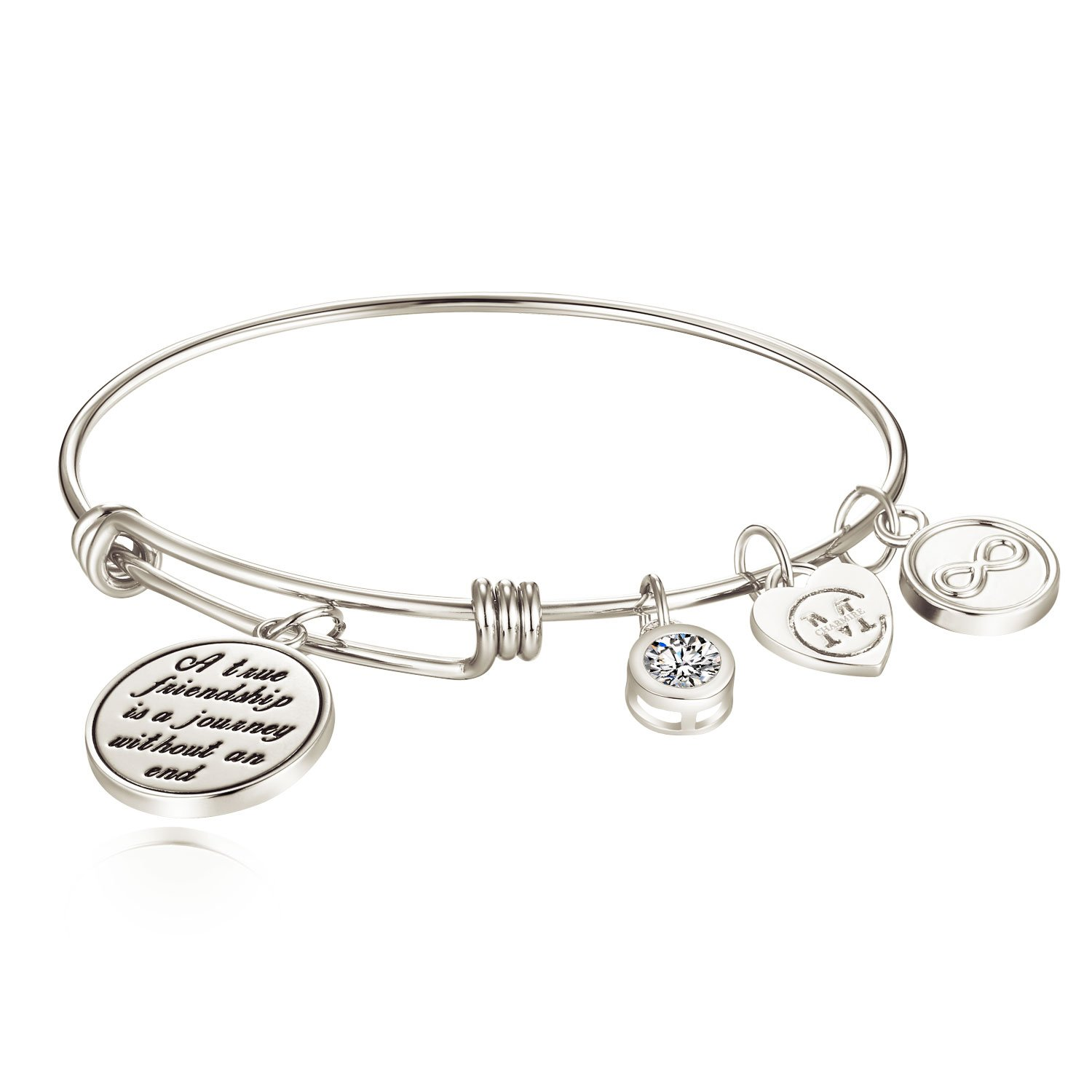"""A true friendship is a journey without an end"" Womens Charm Bangle Bracelet Jewelry Gifts"