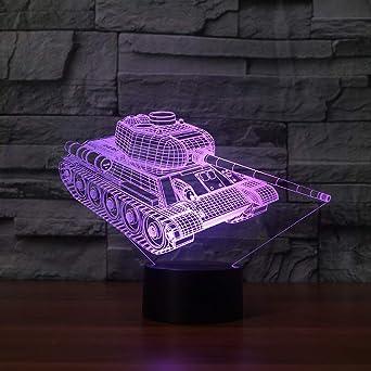 KangYD Game Tank - Lámpara de escritorio de mesa 3D, Luz de noche ...