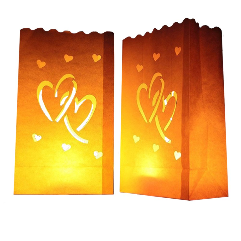 24 Pack Luminary Bags - Double Heart Design Candle Bags - Flame Resistant Light Holder - Candleholders Decorations for Wedding, Halloween, Birthday, New Year and Event Occasion - White (Double Heart)