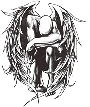 tzxdbh Pegatinas de Tatuaje Impermeables Alas de ángeles caídos ...