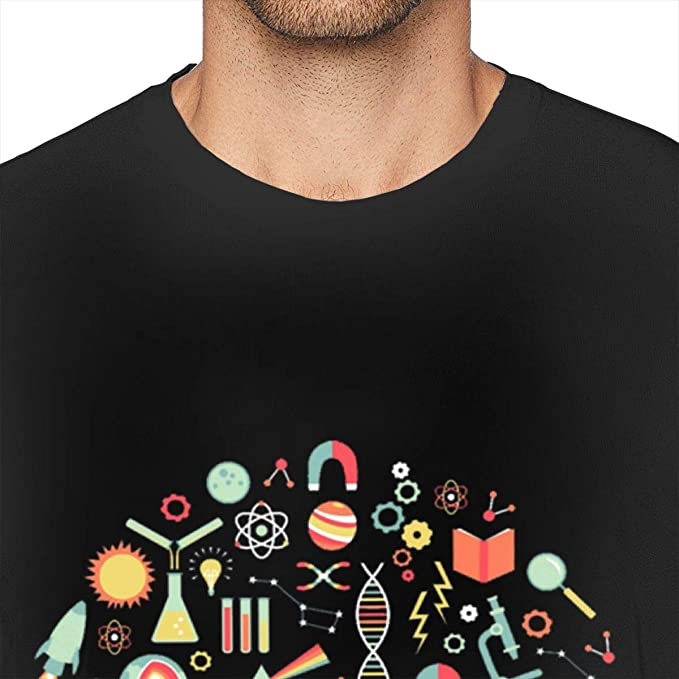 ADKASD Camisetas y Tops Men Print Science Studies Logo T-Shirts ...