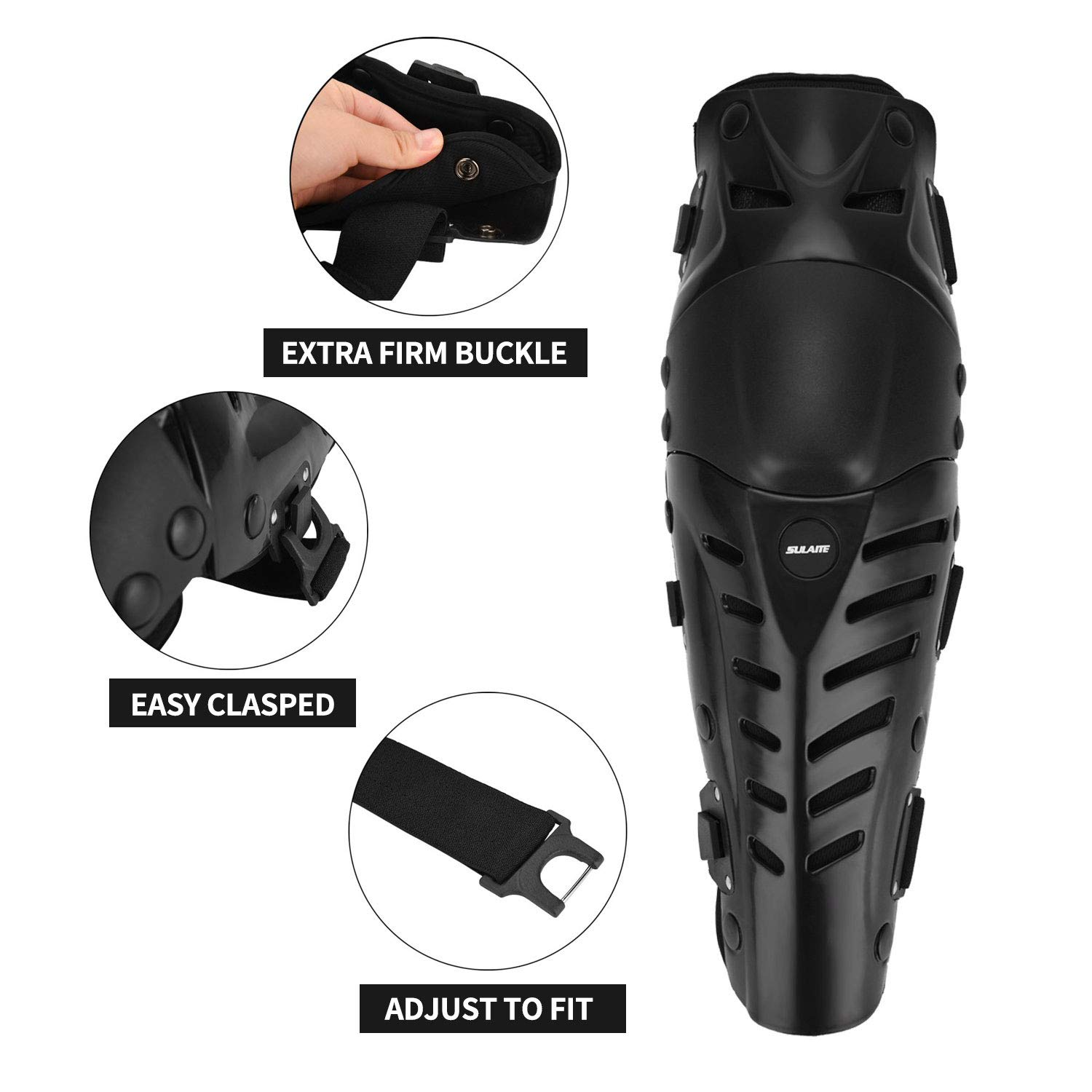 RIDBIKER 1 Pair of Movable Knee Shin Guard Pads Three Sections 2Pcs Breathable Adjustable Knee Cap Pads Protector Armor for Motorcycle Cycling Racing