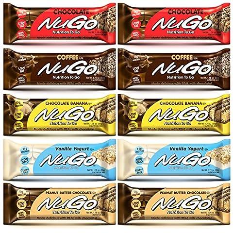 NuGo Nutrition Bar Variety Pack 5 Flavors 10 Bars | Peanut Butter Chocolate, Coffee, Chocolate, Chocolate Banana, Vanilla Yogurt 1.76-Ounce - Coffee Yogurt