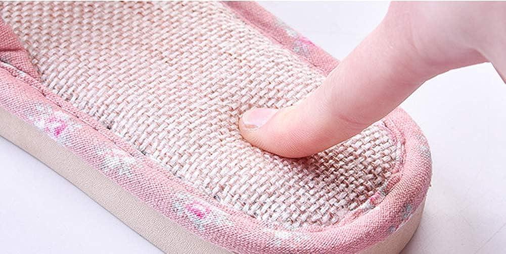 Zapatillas de Lino de Interior Antideslizante Pantuflas para Mujer