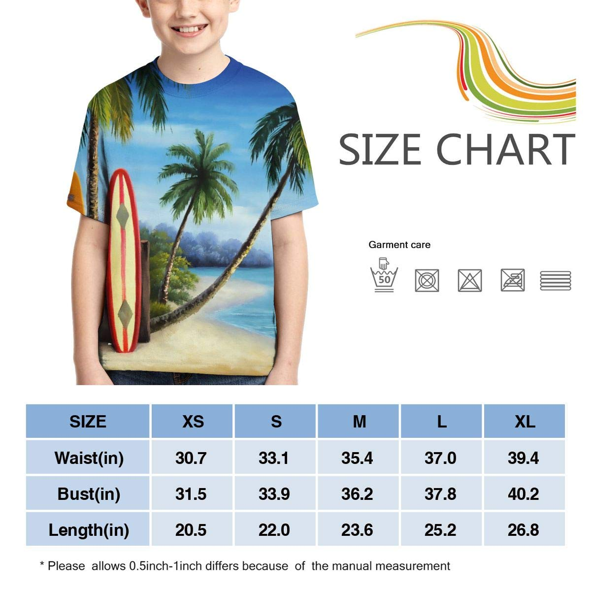 Vy32jg-2 Short-Sleeve Surfboards and Palm Trees Shirts for Boys XS-XL Kawaii Blouse Clothes