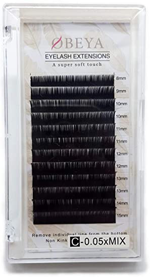 0329f941b8e C Curl Eyelash Extensions 0.05 Thickness 8-15mm Mixed Tray Soft Volume  Natural Silk Individual Lash Extensions for Salon Perfect Use by OBEYA:  Amazon.ca: ...