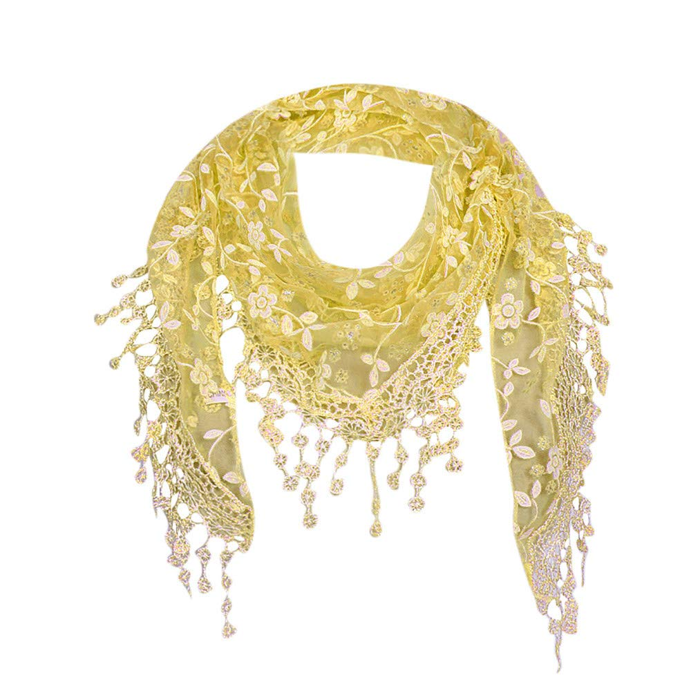 Scarfs For Women Lightweight Shawl Winter Clearance, Lace Sheer Floral Tassel Wrap Chiffon Shawl Scarves (Yellow)