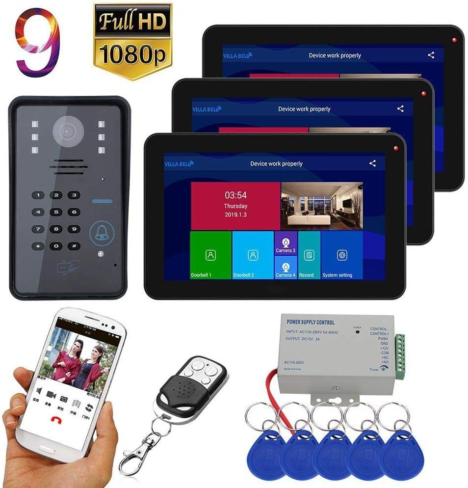 Teléfono con videoportero DYWLQWifi, sistema de intercomunicación con timbre inteligente de 9 pulgadas Seguridad para el hogar,3 monitores LCD digitales,visión nocturna por infrarrojos 1080P