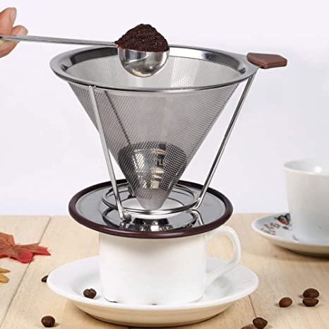Stainless Steel Pour Over Coffee Dripper Reusable Cone Drip Filter Tea Makers