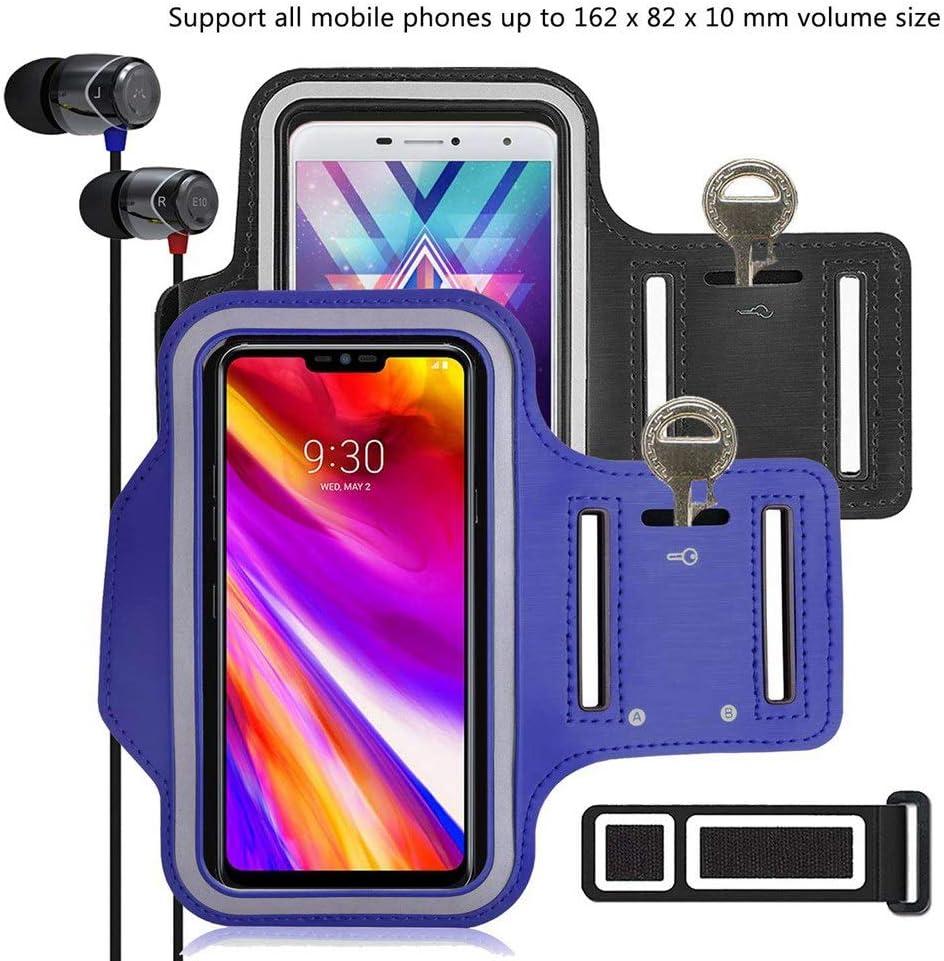 pinlu [2 Pack] Pulsera de Fitness a Prueba de Sudor para Xiaomi Mi4, Xiaomi Mi 4s, Xiaomi Mi5, Xiaomi Mi 5S, Xiaomi Mi6, Llave de la Puerta, Pulsera DE 5.5 Pulgadas -(Negro+Azul Oscuro)