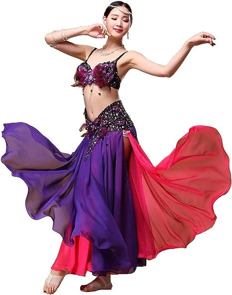 Grouptap Falda de Vestido Sexy de Color Rojo púrpura Tribal Gitana ...