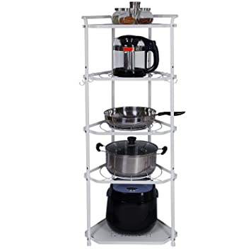lifewit pan pot organizer rack with 6 removable hooks free standing corner shelf unit 5