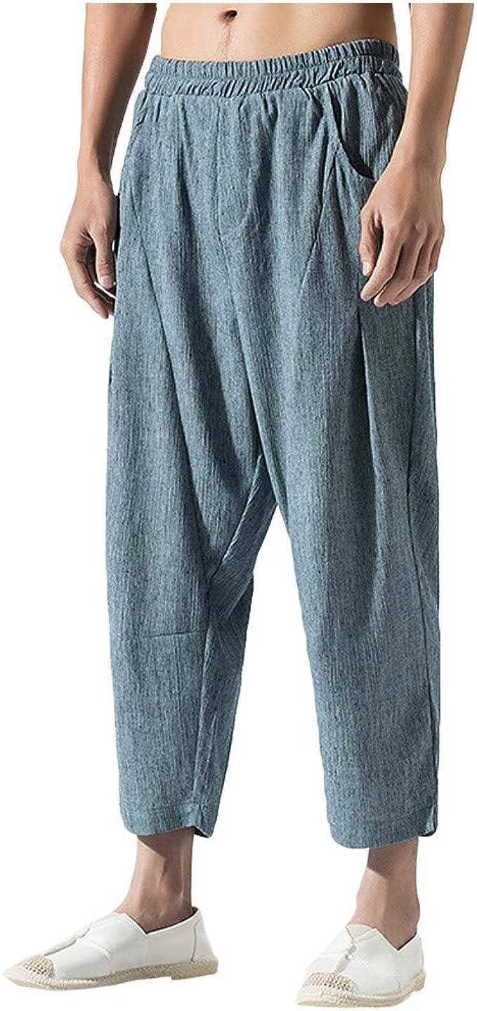 FRAUIT Plus Size Oversize Pantaloni Uomo Lino Estivi Pantaloni Ragazzo Elegante Taglie Forti Pantaloni Lavoro Uomini Slim Fit Pantaloni Cargo Leggeri Elasticizzati con Tasche Bermuda