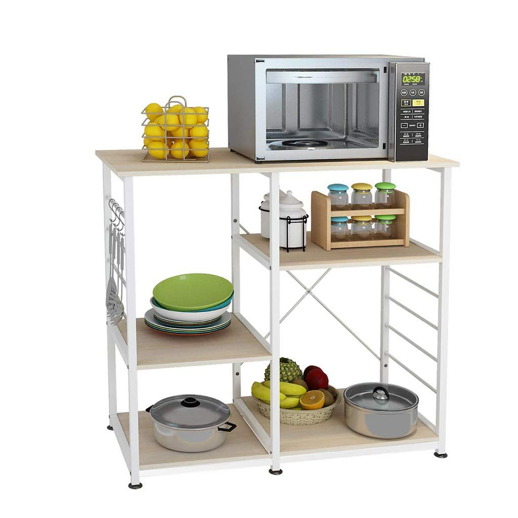 Lucoo 3-Tier Kitchen Baker's Rack Utility Microwave Oven Stand Storage Cart Workstation Shelf for Spice Storage Cart Island Storage Trolley Utility Cart Rack (White) by Lucoo