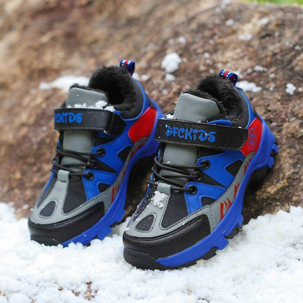 TOCOD Boys Winter Fur Lining Sport Boots Kid Toddler Anti Slip Cold Weather Waterproof Hiking Climbing Shoes