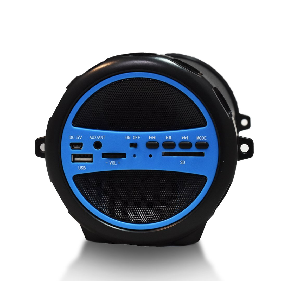 Axess Spbt1031bl Portable Bluetooth Indoor Outdoor 21 Sonic Gear Quatro 2 20 Speaker Hi Fi Cylinder Loud With Built In 3 Sub And Sd Card Usb Aux Inputs Blue