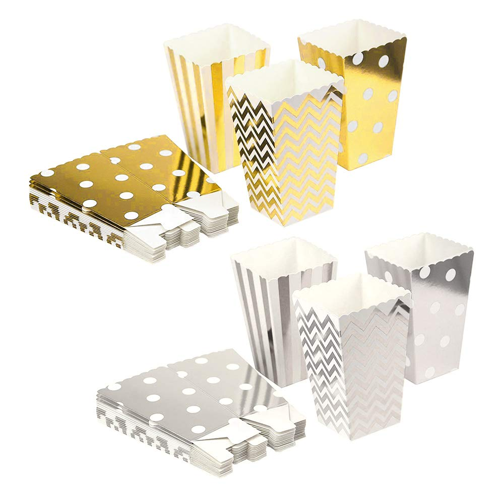 CUGBO Paper Popcorn Bags Cardboard Candy Container Boxes for Birthday Theater Themed Parties Movie Nights Carnivals Wedding Favor-Trio Polka Dot, Chevron, and Striped Assorted Desings (72)