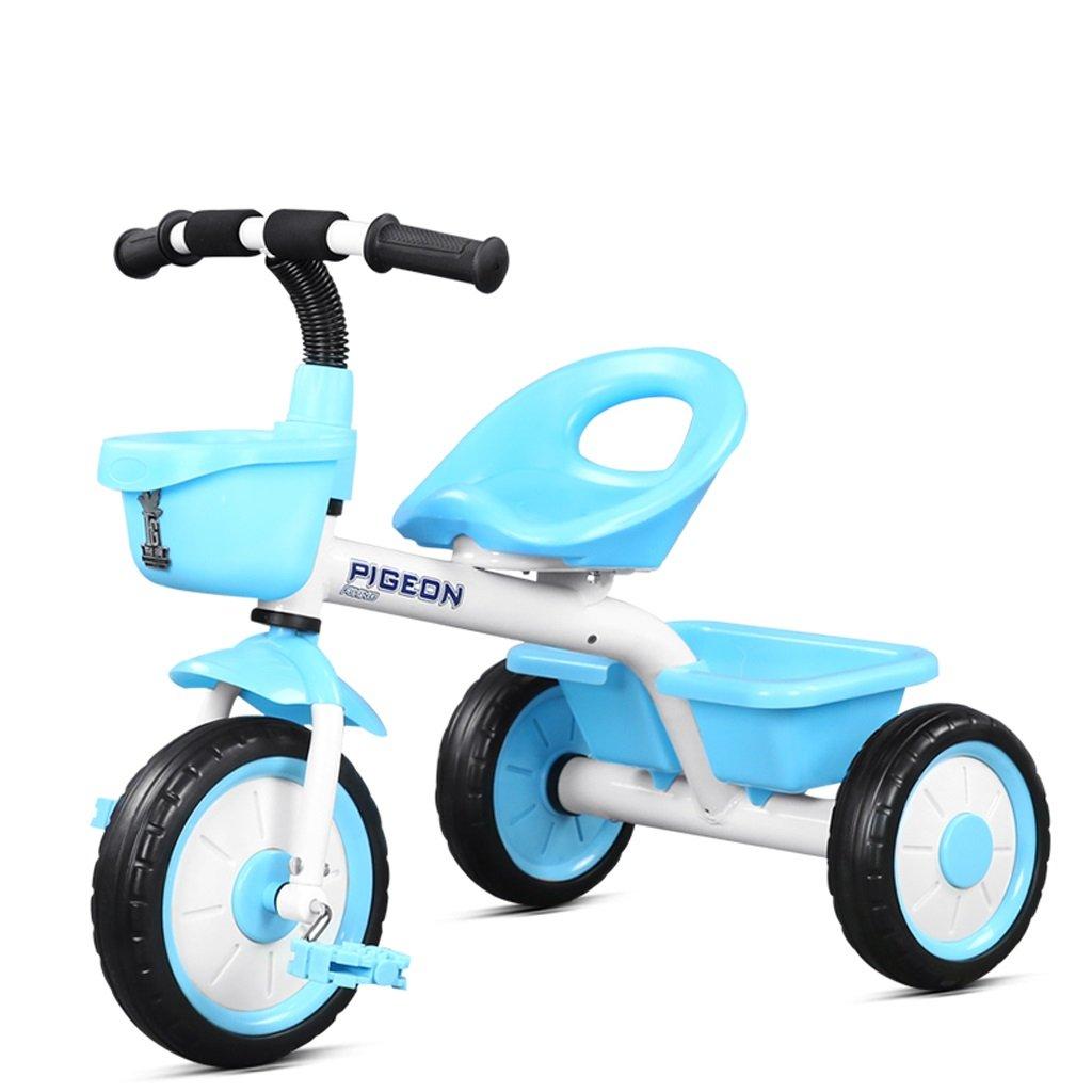 子供の三輪車2-5歳の赤ちゃんのバイク赤ちゃんのおもちゃの車のベビーカーの自転車、赤/黄色/青、72 * 46 * 58センチメートル ( Color : Blue ) B07BZZCC79