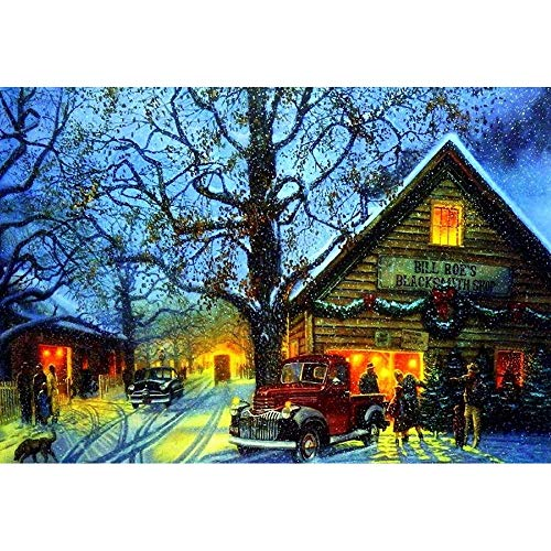 Hattfart DIY 5D Diamond Painting Kit, Snowman Tree Embroidery Cross Stitch Square Diamond Painting for Home Wall Decor (C)