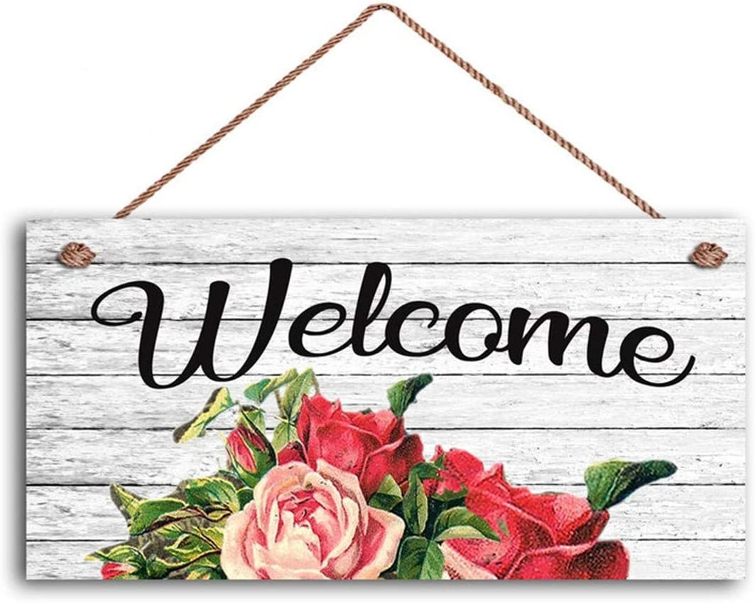 "Welcome Sign, Shabby Chic Floral Design, Rustic Decor, 5"" x 10"" Sign, Vintage Style Rose Print, Housewarming Gift(W20-31)"