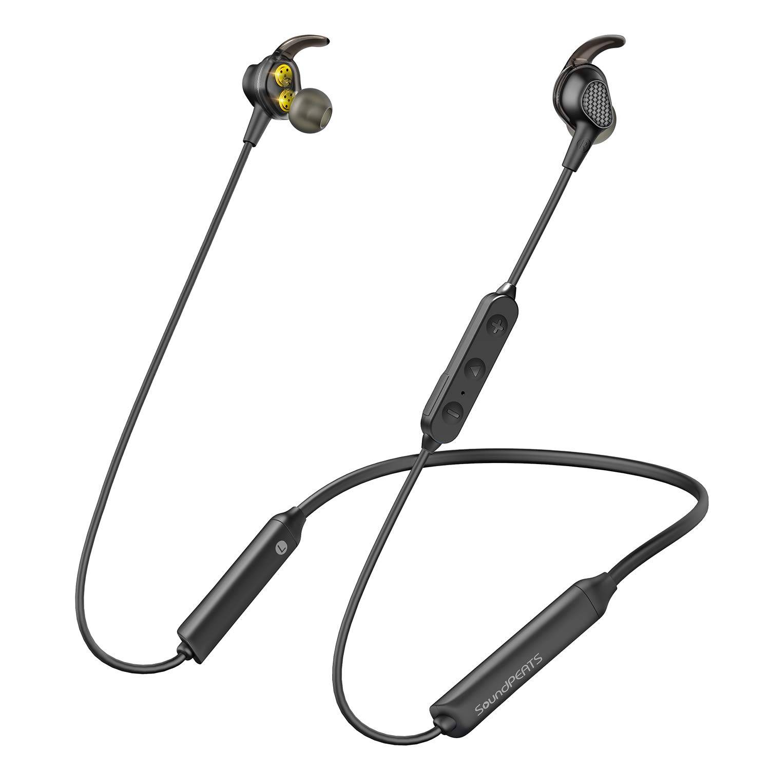 Bluetooth Wireless Headphones, SoundPEATS Real Dual Dynamic Drivers Stereo Earphones 18 hrs Sweatproof Sports Neckband Headsets with Mic,Noise Isolation,BT 5.0,High/Low Crossover Processing Units