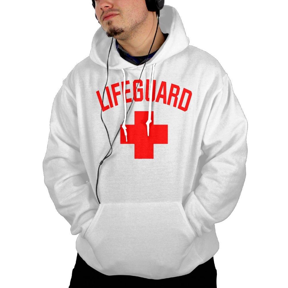 Lifeguard Sleeveless Mens Hoodies Sweater with Pocket Hooded Sweatshirt White M