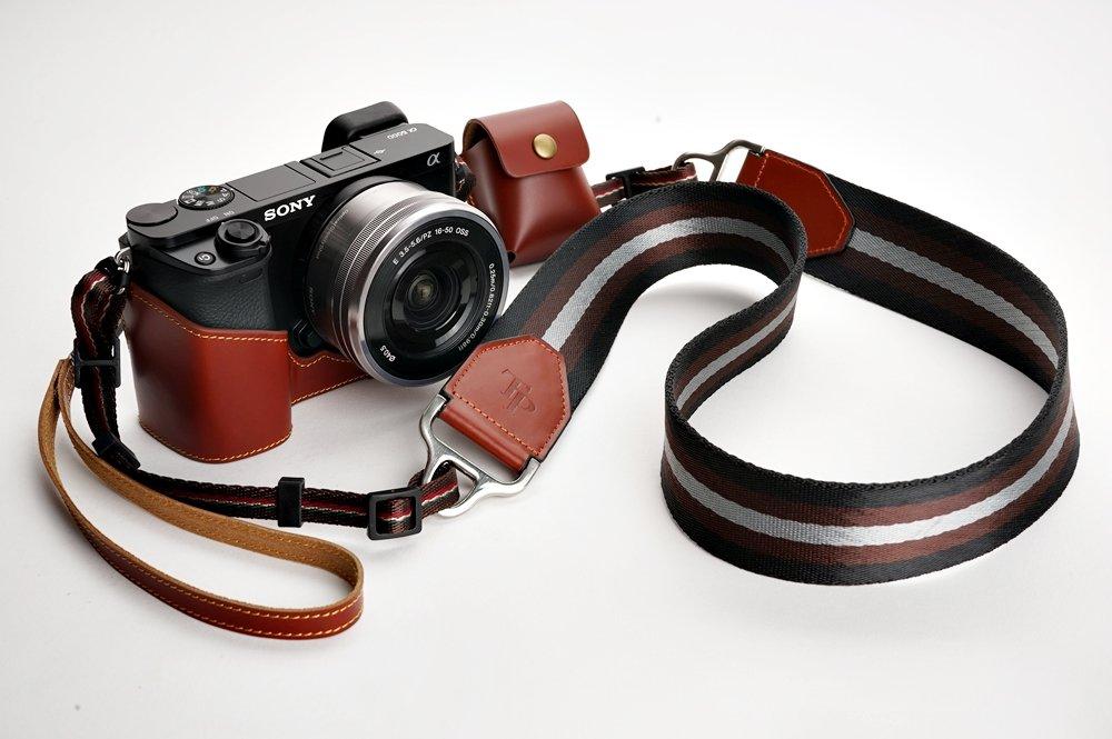 SONY ソニー α6000用本革カメラケース ブラック、ブラウン (カメラケース&ストラップLK1881&バッテリーケース, ブラウン) B01MQ294RX ブラウン カメラケース&ストラップLK1881&バッテリーケース