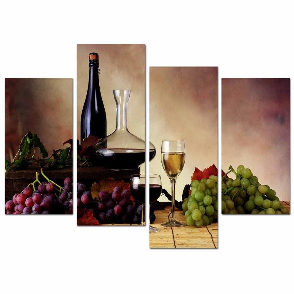 """Sea Charm - Vintage Red Wine and Grape Canvas Wall Art Stretched and Framed Still Life Painting Print for Kitchen Restaurant Decor (12""""X24""""x2pcs+12""""x32""""x2pcs)"""